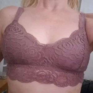 Mudd Dusty Pink Lacey Padded Bra Top